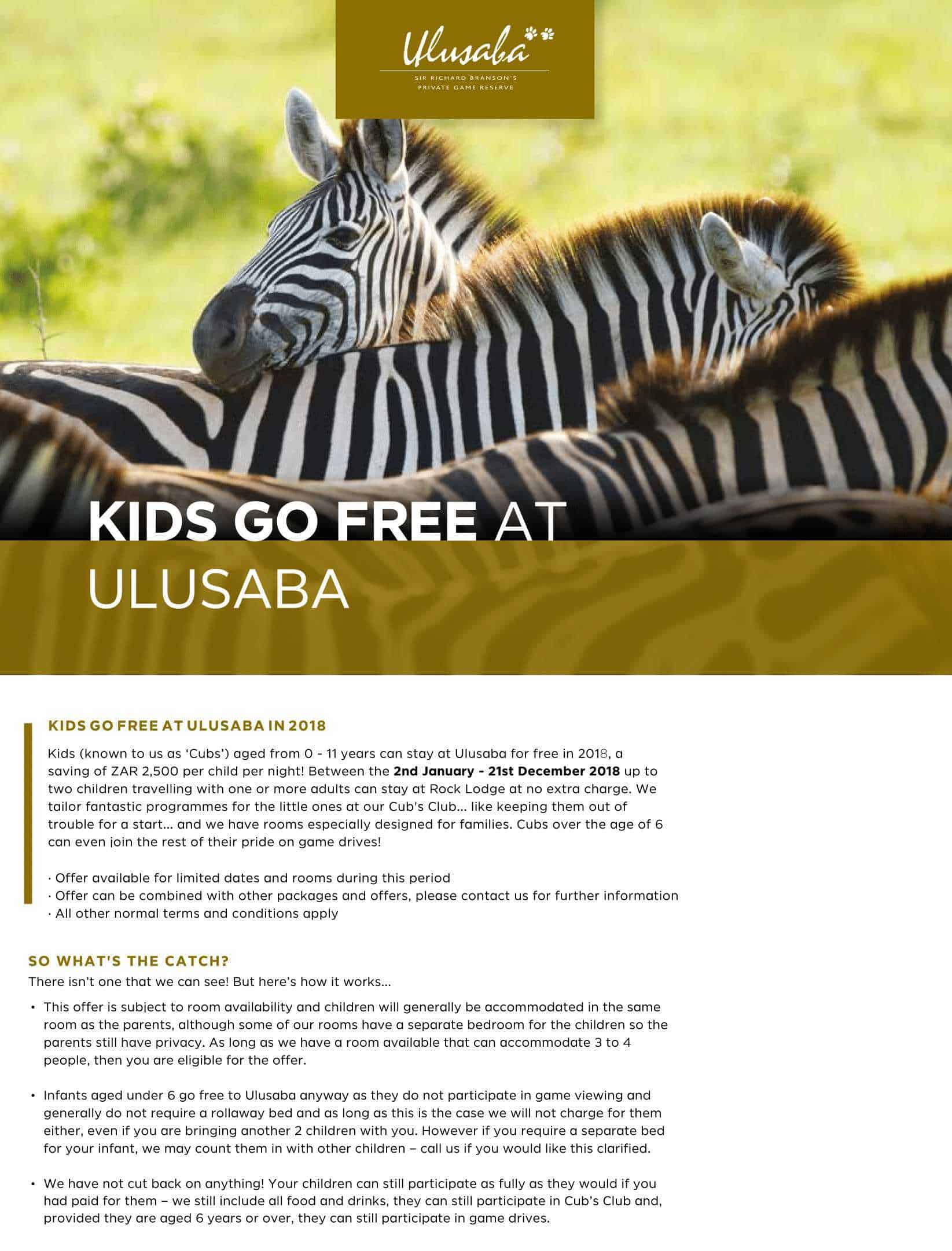 UluSaba Kids go Free | African Safaris with Taga