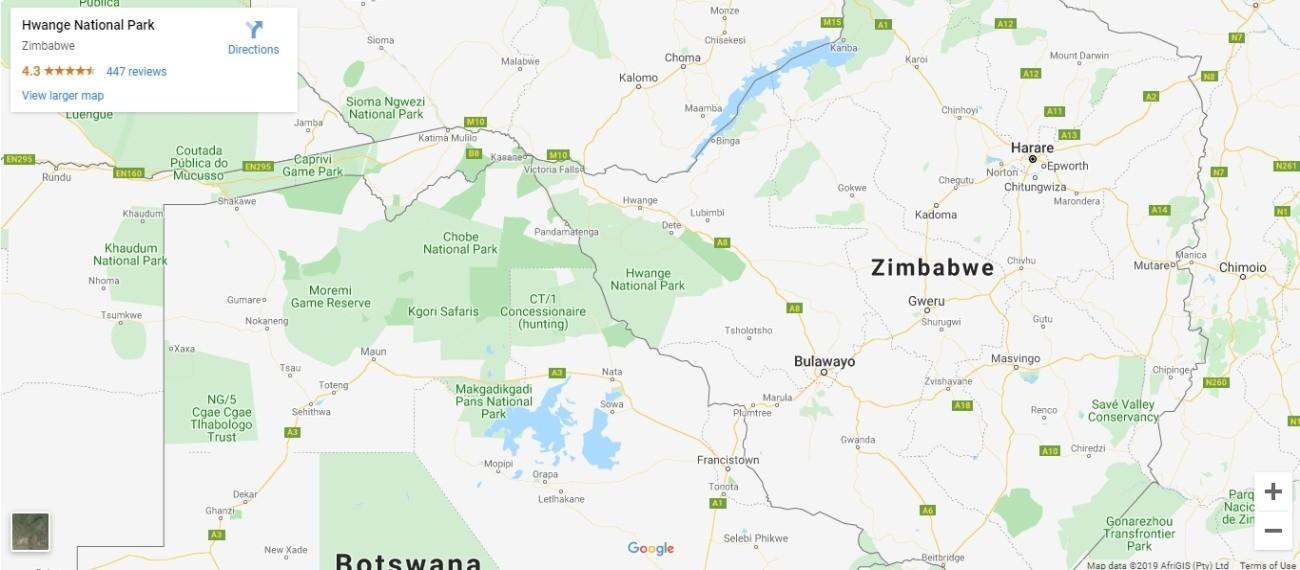 Hwange National Park Map