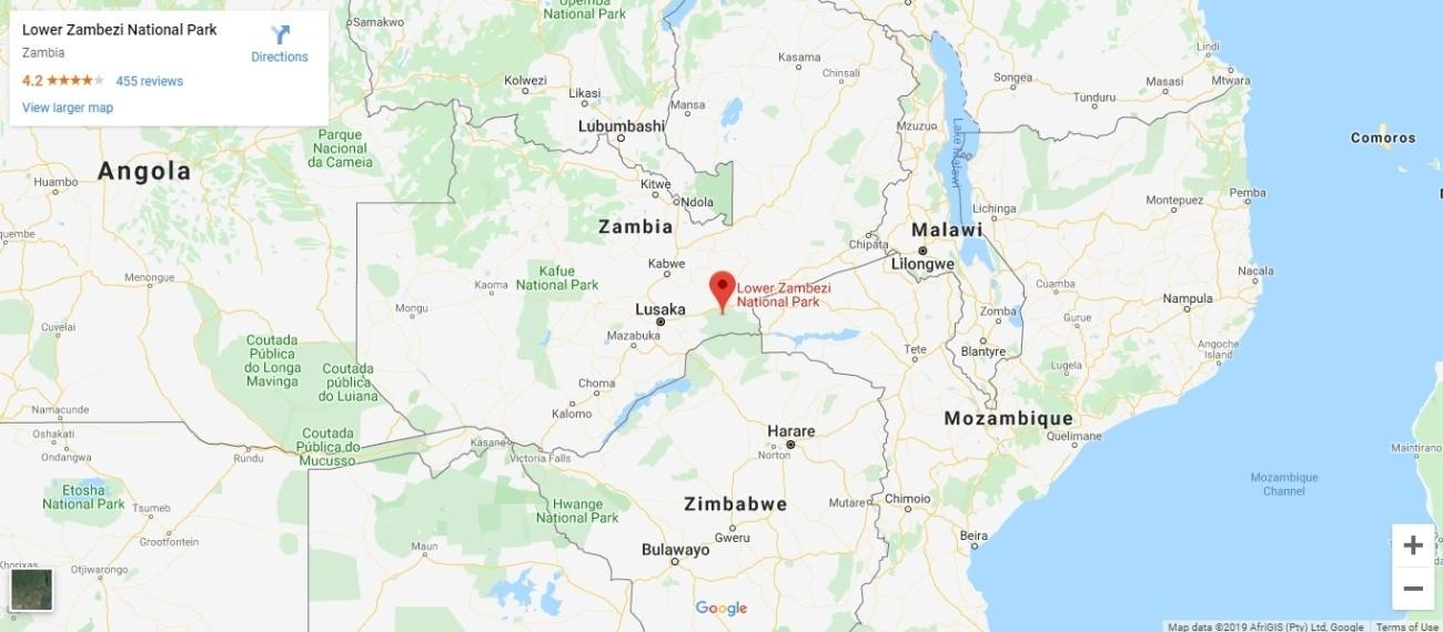 Lower Zambezi National Park Map